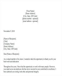 Gratitude Letter Template Employee Appreciation Letter Sample To Miss S Template Notes