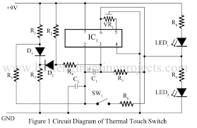 Light Sensor Using Ic 741 Thermal Touch Switch Using Op Amp 741 Ic 741 Based Projects