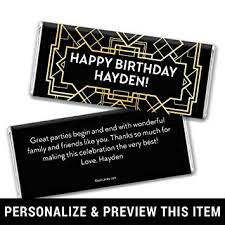 chocolate bar wrappers amazon com personalized great gatsby themed birthday chocolate bar
