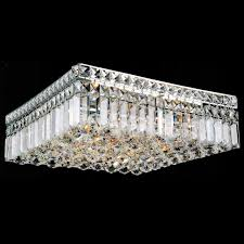 picture of 16 bossolo transitional crystal square flush mount chandelier polished chrome 5 lights