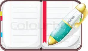 stock vector of vector cartoon open notebook with pen