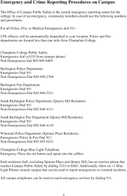 Annual Campus Public Safety And Fire Safety Report Champlain College