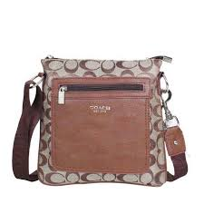 Coach Bleecker Monogram Small Khaki Crossbody Bags DQE