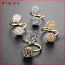 New Arrival <b>BOROSA Fashion 5PCS</b> Natural Druzy Double Rings ...