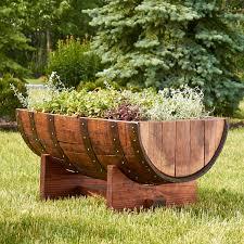 ... Half Barrel Garden Tubs Quarter Barrel Planter Unique Pots With Kind  Flowers With Grass ...
