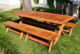 outdoor wooden picnic tables