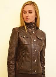 jean las brown leather biker jacket