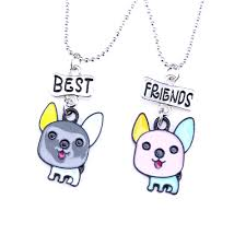 45cm kids puppy dog best buds best friend two pieces of pendant clavicle necklace for girls children