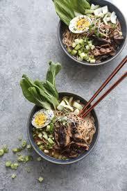 vegetarian ramen recipe with mushrooms bok choy and a vegan broth anese stye