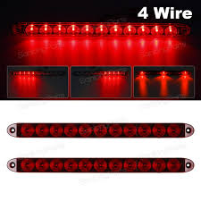 2pcs red 15 034 11 led surface mount sealed stop tail turn brake 2pcs red 15 11 led surface mount sealed stop tail turn brake 4 wires light bars