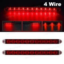 2pcs red 15 034 11 led surface mount sealed stop tail turn brake 2pcs red 15 11 led surface mount sealed stop tail turn brake 4 wires light bars
