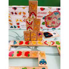 Đồ chơi gỗ nhập khẩu xếp hình domino | Bộ trò chơi Domino 28 chi tiết hoa  văn dễ thương bằng gỗ