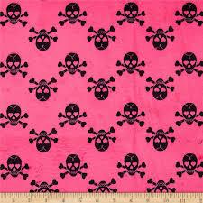Minky Jolly Rogers Skull Bones Hot Pink Black Discount Designer