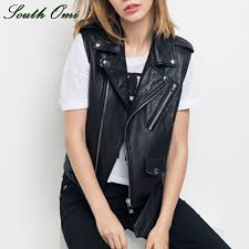 women leather vest pu soft vest las tatical leather motorcycle vest pocket vest waistcoat rivet colete female waistcoat biker