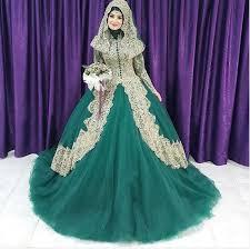turkish islamic women green wedding dress 2016 couture ball gown