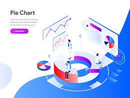 Pie Chart Isometric Illustration Concept Modern Flat Design