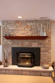 Stone Fireplaces with Wood Mantels New