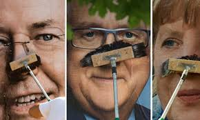 "From the left are Peer Steinbrück, Rainer Brüderle and Angela Merkel. Photograph: Thomas Peter/Reuters. He had to answer if he would ""legalise hashtags"", ... - German-election-candidate-010"
