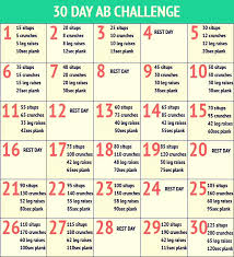 24 Day Challenge Chart 30 Day Abs Challenge Super Easy Fun By