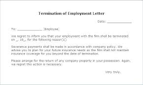Simple Employment Separation Letter Template Terminating Termination