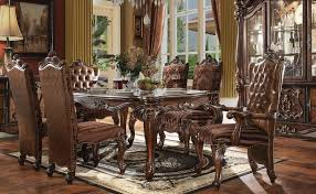 oak wormy maple cherry butcherblock dining versailles dining room set in cherry oak finish by acme