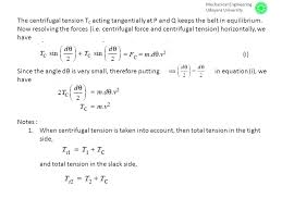 the centrifugal tension tc acting tangentially at p and q keeps the belt in equilibrium