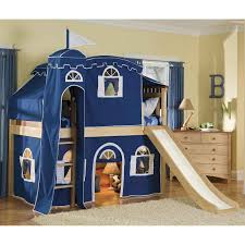 bolton furniture bennington low twin loft bed w top tent slide blue white curtain