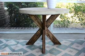 x brace concrete side table plans rogue engineer 3 three legged round cross oak top