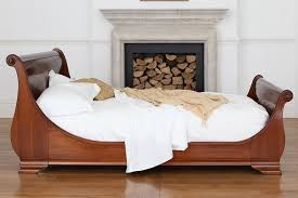 absolutely wooden sleigh bed frame lit bateaux style cherry veneer manoir and so to with storage