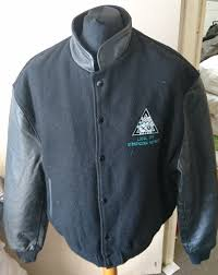 strathcona refinery by avon sportswear men s varsity leather jacket with leather sleeves made in canada d 54 1 4 kg