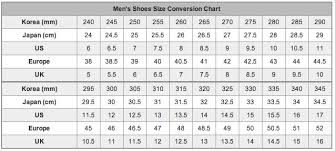 Korean Shoe Size Conversion Chart Mens Shoe Size Chart Shoe Size Chart Korean Shoes Size