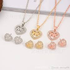 2019 2018 europe and the united states big gold m letter heart shape diamond necklace pendant earrings jewelry two pieces jewelry set polishing from