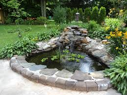 Garden & Landscape:Cool Small Garden Pond With Natural Decorative Stone  Cool Small Garden Pond