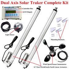 electric dual axis solar tracker 16 linear actuator 1500n dc motor lcd controller anemometer diy solar panel tracking system in dc motor from home