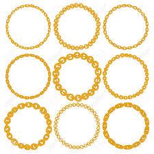 Circle Border Set Of 9 Decorative Circle Border Frames Gold Chain Round Wreaths