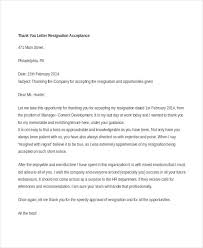 Thank You Resignation Letter 7 Free Word Pdf Documents Download