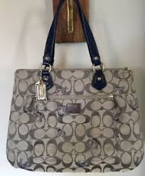 Image is loading Coach-18711M-Signature-Poppy-Glam-Tote-Large-Grey-