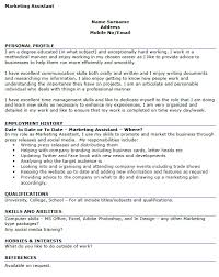 marketing assistant cv example sample marketing assistant resume