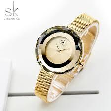 <b>Shengke Fashion Luxury Ladies</b> Watch Prism Fac Gold Steel Mesh ...
