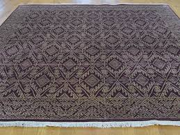 'x' geometric design hand knotted tone on tone square rug