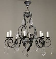 wonderful wrought iron chandelier with crystals country french cut