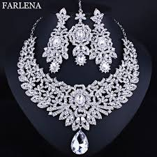 farlena wedding jewelry clear crystal rhinestones necklace earrings
