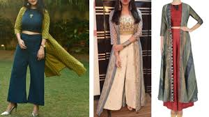 Designer Palazzo Pants Online India Top 20 Palazzo Pants With Crop Top And Jackets Designs