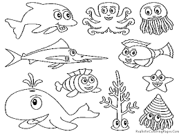 Cute Ocean Animals Coloring Pages For