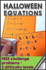 a fun free set of equation cards for practicing algebra skills with pictures with a theme math teacher