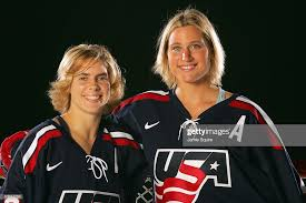 Foward Jenny Porter and defensemen Angela Ruggiero pose during a... News  Photo - Getty Images