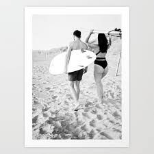 coastal surf photography print surfer couple in black and white wander wall art art print