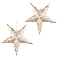 2x Led Weihnachts Hänge Lampe Decken Stern Gold Wohnraum X Mas Fenster Schmuck