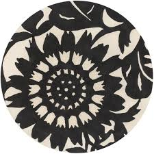 black and cream rug. Zinnia Round Rug In Black And Cream N