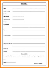 biodata form job application collection of biodata form format for job application free download